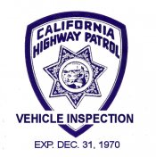 1970-12 California INSPECTION Sticker