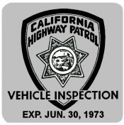 1973-06 California Inspection Sticker