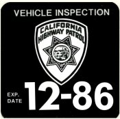 1986 California inspection sticker (Estimated)
