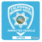1958 California Inspection sticker