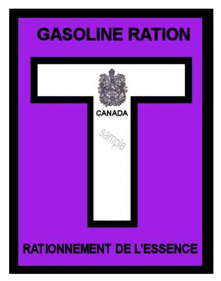1945-46T Gas Ration Sticker CANADA - Click Image to Close