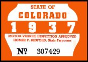 1936-37 Colorado Inspection Sticker