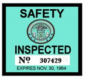 1964 Colorado Inspection sticker