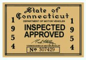 1954 Connecticut Inspection Sticker