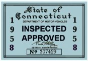 1958 Connecticut Inspection Sticker
