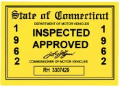 1962 Connecticut Inspection sticker