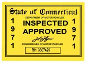 1971 Connecticut Inspection Sticker
