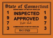1973 Connecticut Inspection Sticker