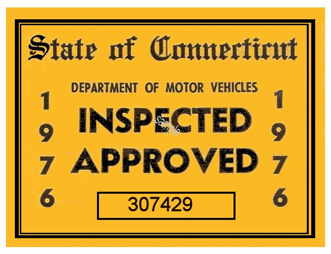1976 Connecticut Inspection sticker - Click Image to Close