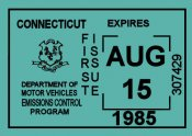1985 Connecticut Inspection Sticker
