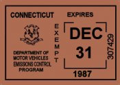 1987 Connecticut Inspection sticker