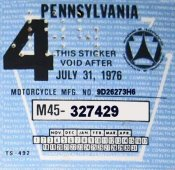 Pennsylvania 1976 Cycle Inspection Sticker