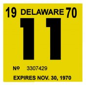 1970 Delaware INSPECTION sticker