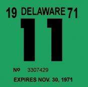 1971 Delaware INSPECTION Sticker