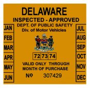 1972, 73, 74 Delaware Inspection Sticker