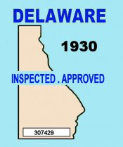 1930 Delaware Inspection Sticker