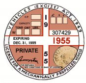 England 1955Tax/Inspection sticker