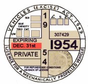 England 1954Tax /inspection sticker