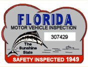 1949 Florida Safety Check Inspection sticker