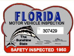1950 Florida Safety Check Inspection sticker