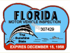 1958 Florida Safety Check Inspection Sticker