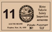 1959 Florida South Miami Inspection Sticker