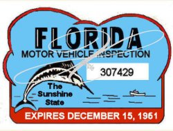 1961 Florida Safety Check inspection sticker