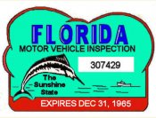 1965 Florida Safety Check inspection sticker