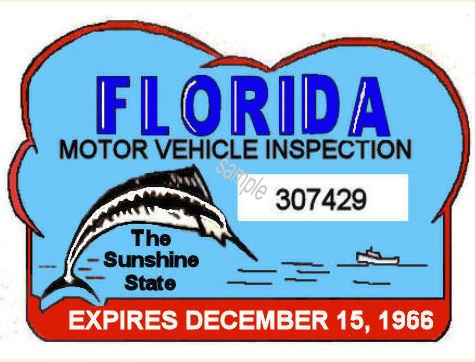 1966 Florida Safety Check inspection sticker - Click Image to Close