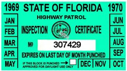 1969-70 Florida Inspection Sticker