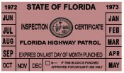 1972-73 Florida Inspection Sticker