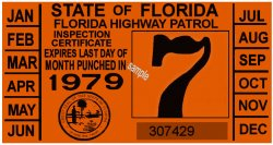 1979 Florida Inspection Sticker
