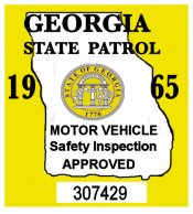 1965 Georgia Inspection Sticker