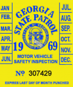 1969 Georgia inspection sticker