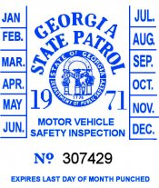 1971 Georgia Inspection Sticker
