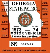 1973 Georgia Inspection Sticker