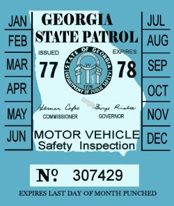 1977-78 Georgia Inspection Sticker