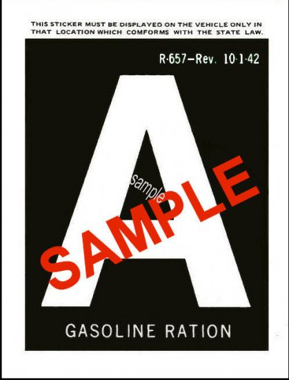 1942 Gas Ration Sticker A - Click Image to Close
