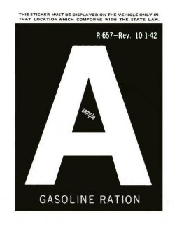 1942 Gas Ration Sticker A