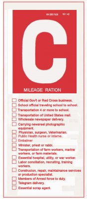 1942 Gas Ration Sticker C