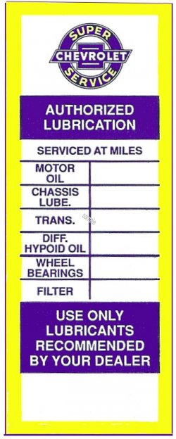 CHEVROLET Service Lubrication Door Sticker 1960s