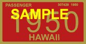 1950 Hawaii Registration Sticker