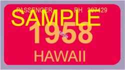 1958 Hawaii Registration sticker