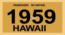1959 Hawaii Registration Sticker