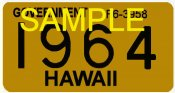 1964 Hawaii Registration sticker Government