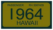 1964 Hawaii Registration Sticker