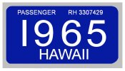 1965 Hawaii Registration Sticker
