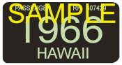 1966 Hawaii Registration Sticker