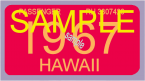 1967 Hawaii Registration Sticker