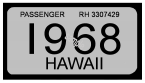 1968 Hawaii Registration Sticker